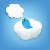 Cloud Icon With Bird