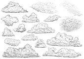 Cloud illustration, drawing, engraving, ink, line art, vector
