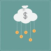 Cloud in shape of bag and hanging coins with dollar