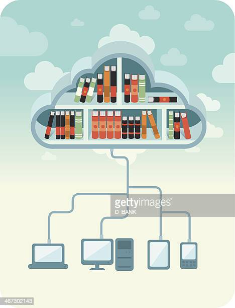 cloud library - library stock illustrations