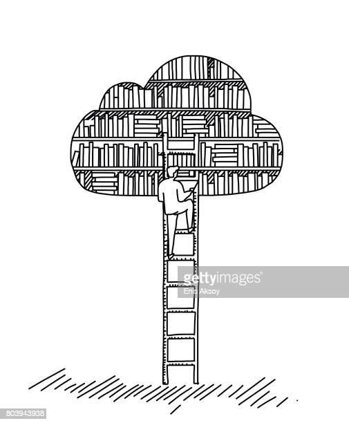 ilustrações, clipart, desenhos animados e ícones de biblioteca de nuvem - biblioteca