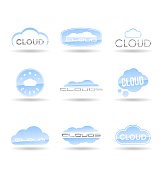 Cloud logo design, weather symbols
