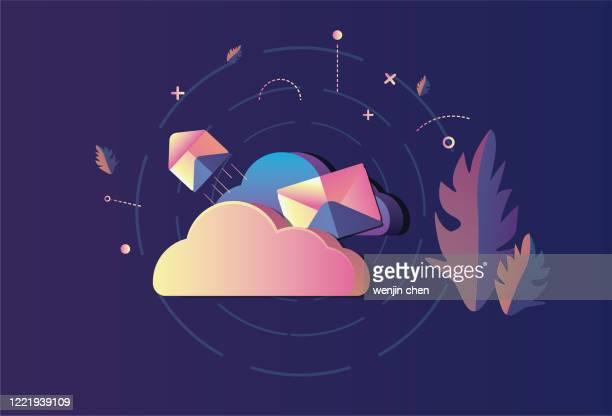 cloud mail sending, big data cloud service, mobile office - big data storage stock illustrations