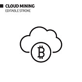 cloud mining line icon outline vector