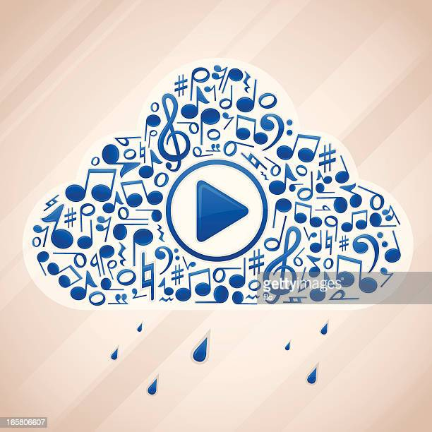 cloud music - bass clef stock illustrations, clip art, cartoons, & icons