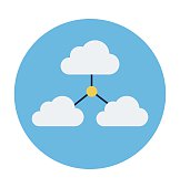 Cloud Network Colored Vector Illustration