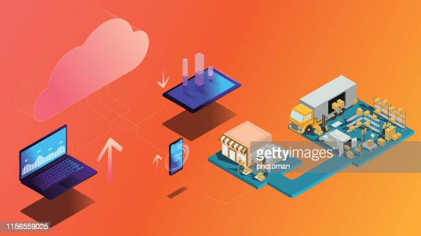 cloud network concept; isometric cloud technology and cargo delivery process  concept on orange background - sydney stock illustrations