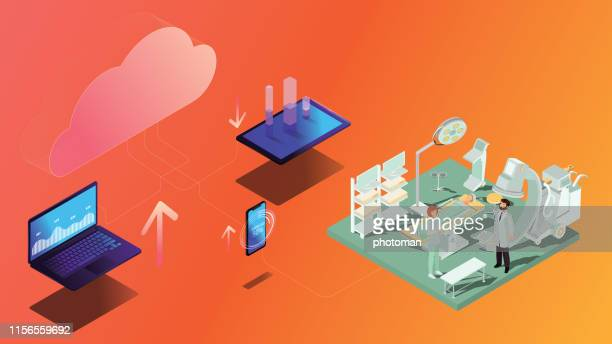 cloud network concept; isometric cloud technology and medical data process concept on orange background - big data isometric stock illustrations