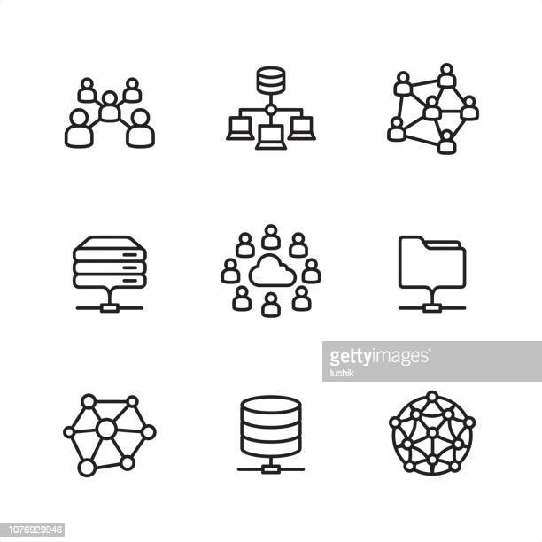 cloud network - pixel perfect outline icons - computer network stock illustrations