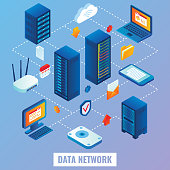 Cloud network vector flat isometric illustration