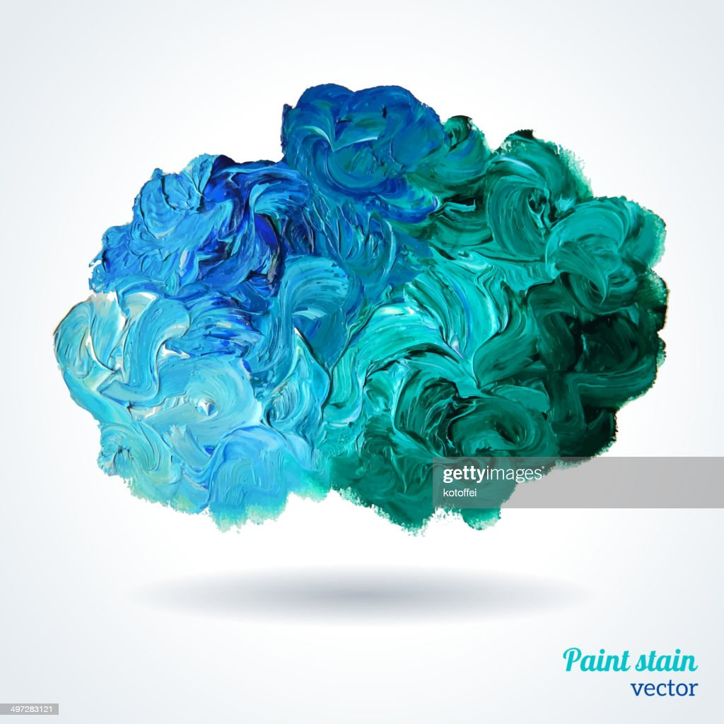 Cloud of blue and green oil paints isolated on white.