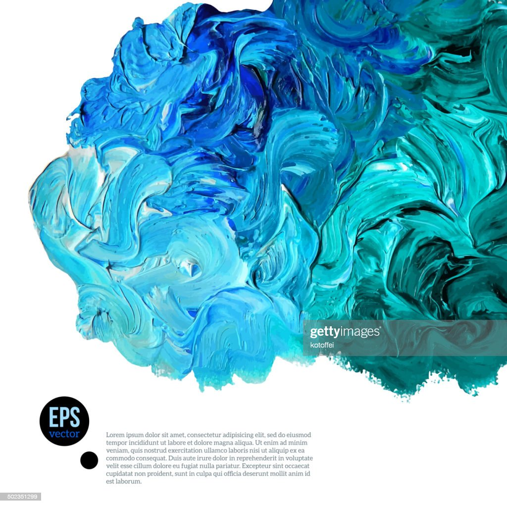Cloud of blue and green oil paints isolated on white