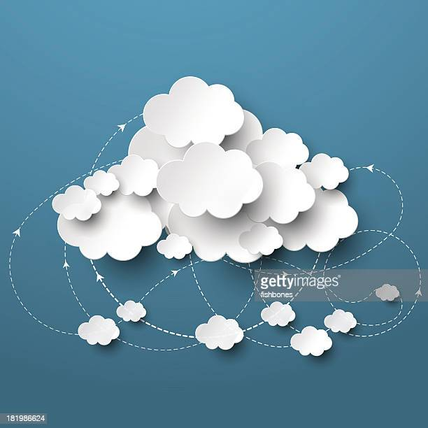 Cloud on blue sky with arrows circling beneath
