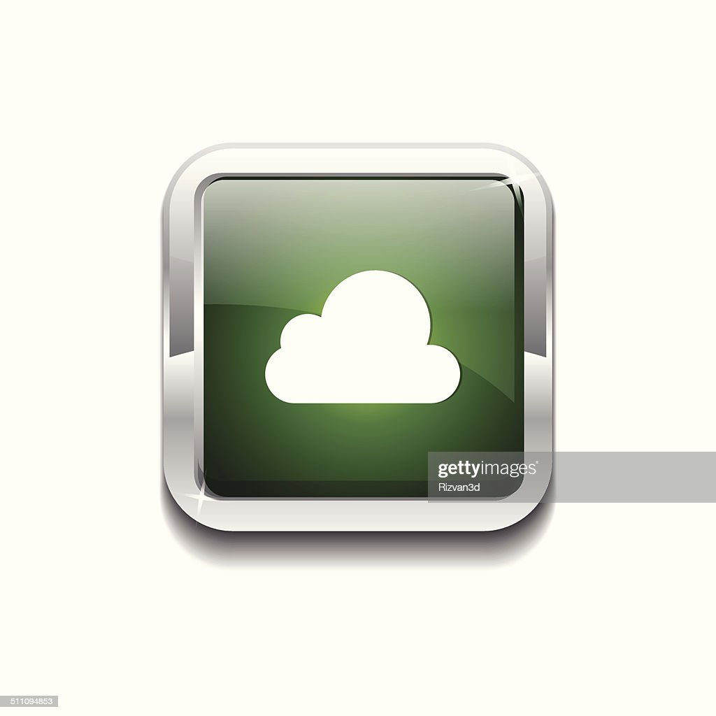 Cloud Rounded Rectangular Vector Green Web Icon Button