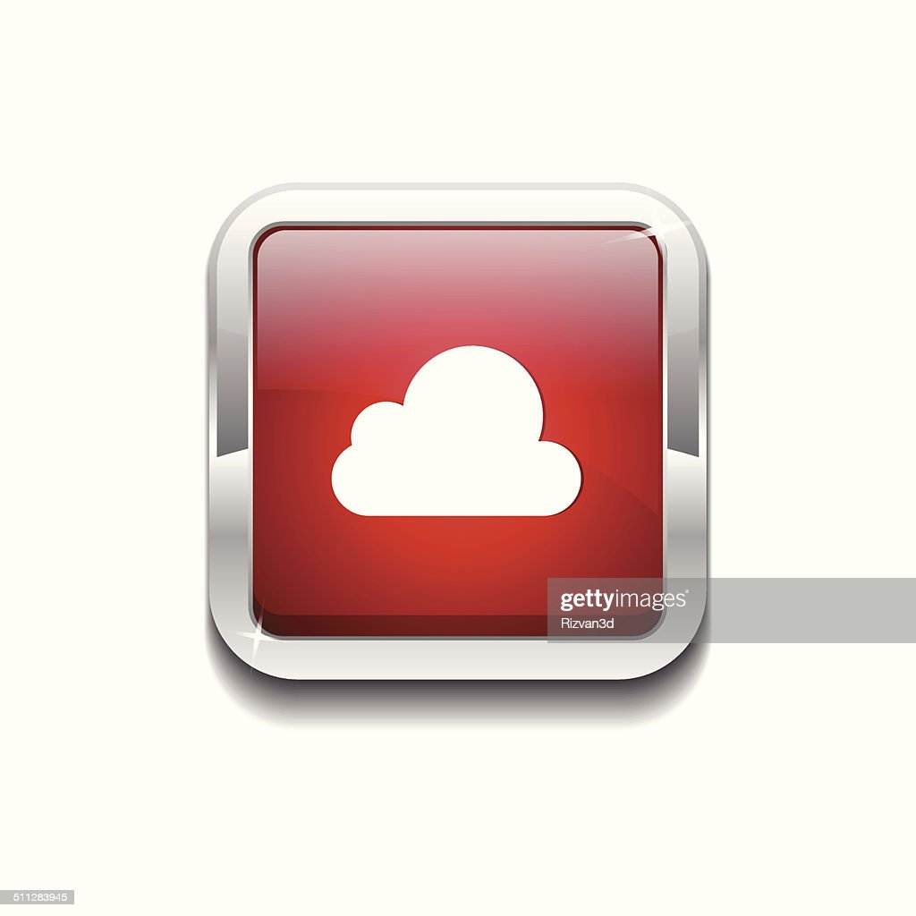 Cloud Rounded Rectangular Vector Red Web Icon Button