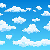Cloud seamless vector background. Endless cartoon cloudscape