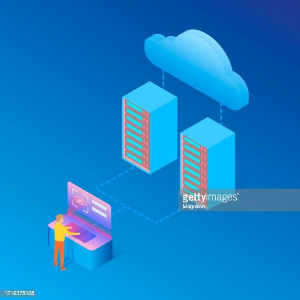 illustrazioni stock, clip art, cartoni animati e icone di tendenza di cloud server big data storage e identificazione utente, dati protetti - centro elaborazione dati