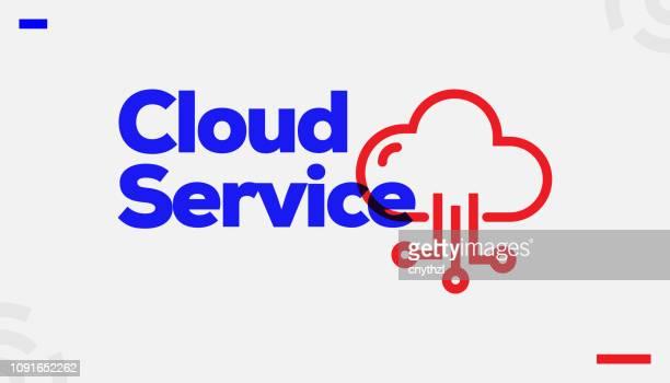 bildbanksillustrationer, clip art samt tecknat material och ikoner med molnet service concept design - sponsra