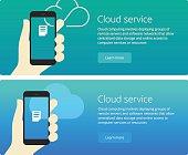 Cloud service concept web banner and promotion teaser