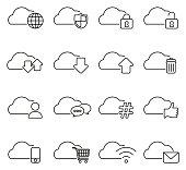 Cloud Service Icons Thin Line Vector Illustration Set
