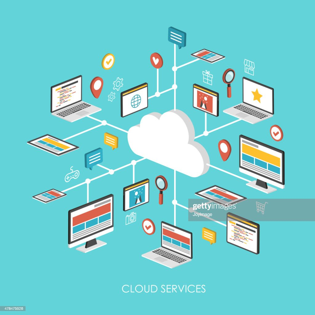 cloud services concept 3d isometric infographic