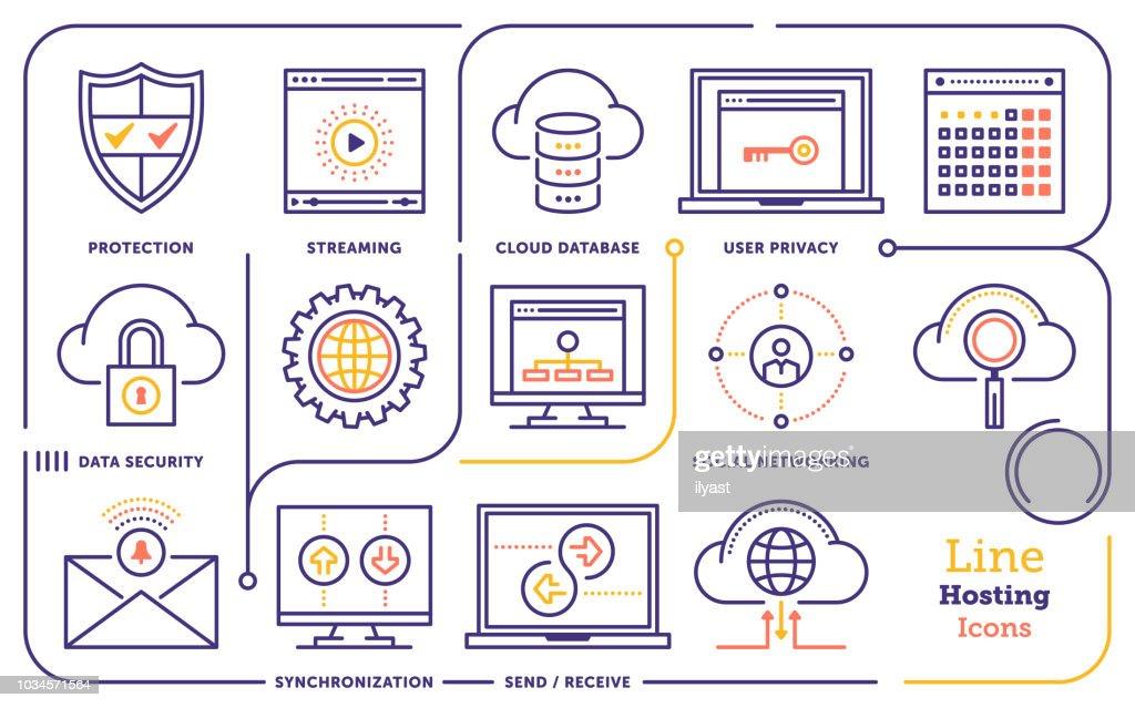 Cloud Services Line Icon Set