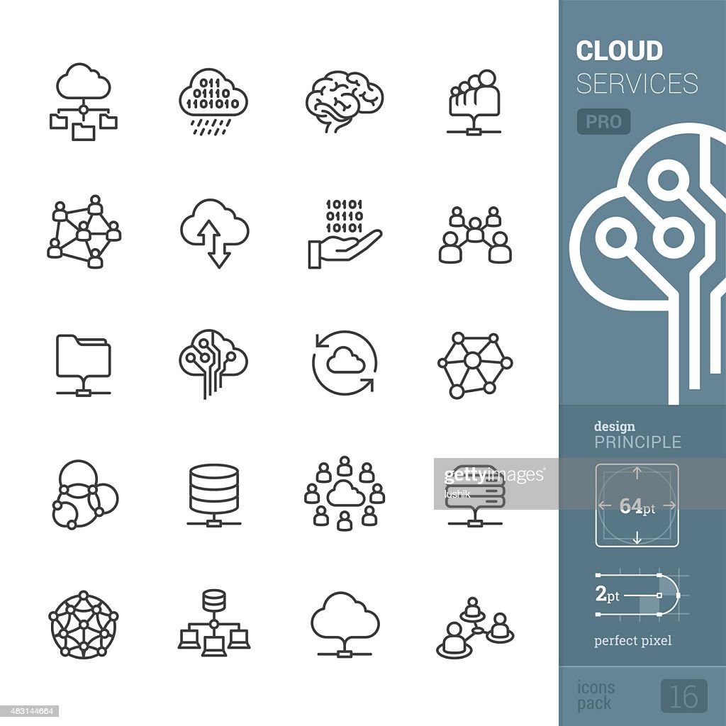 Cloud services related vector icons - PRO pack