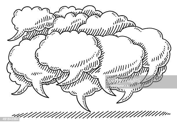 Cloud Shaped Speech Bubbles Drawing
