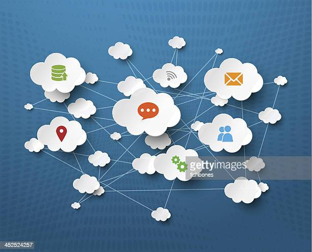 Cloud social network computer icons