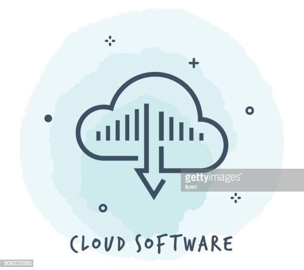 bildbanksillustrationer, clip art samt tecknat material och ikoner med molnet programvara ikon - sponsra