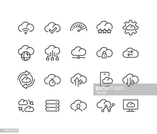 cloud storage icons - classic line series - hard drive stock illustrations