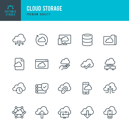 Cloud Storage - set of thin line vector icons - gettyimageskorea