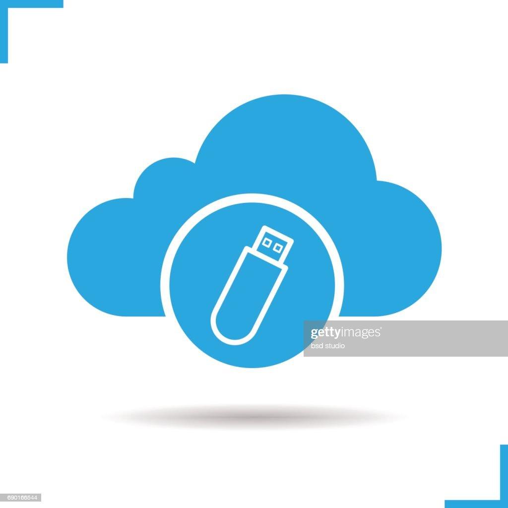 Cloud storage USB stick icon