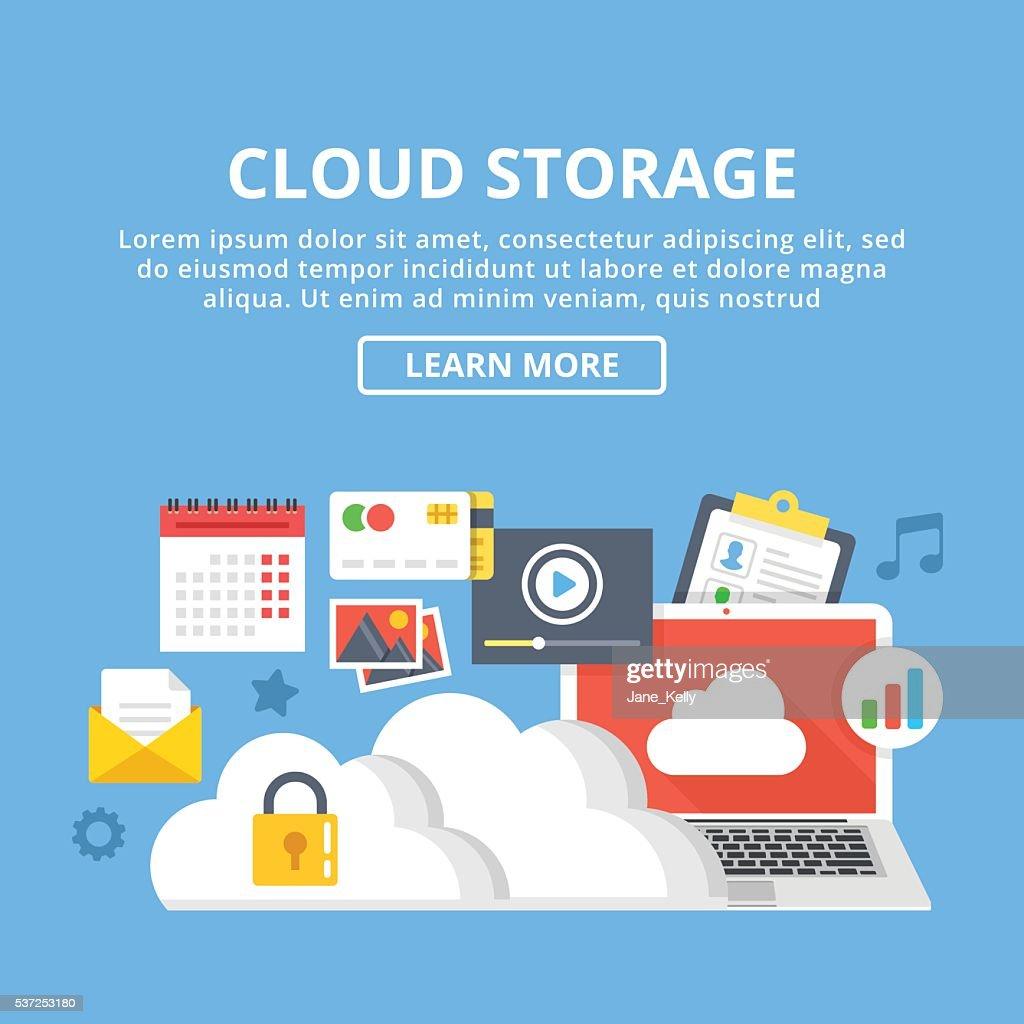 Cloud storage web banner. Cloud technology, data storage. Vector illustration