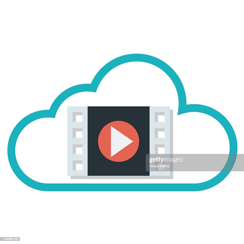 Cloud symbol with a a movie clip symbol vector vector art getty cloud symbol with a a movie clip symbol vector vector art biocorpaavc Gallery