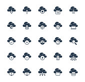 Cloud technology and computing vector icon set in glyph style