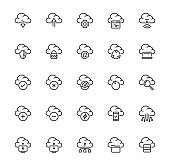 Cloud technology and computing vector icon set in thin line style