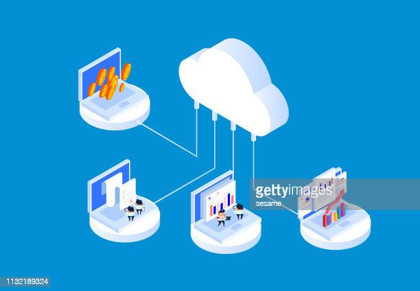 cloud technology and data analysis technology - stock certificate stock illustrations
