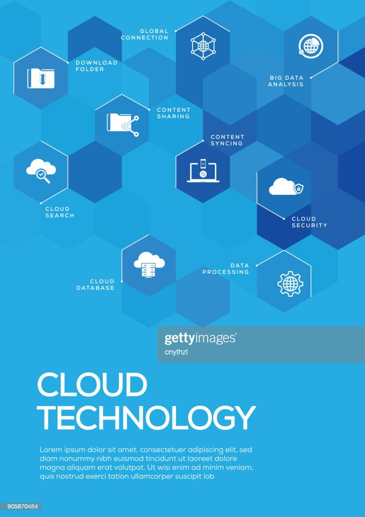 Cloud Technology. Brochure Template Layout, Cover Design : stock illustration