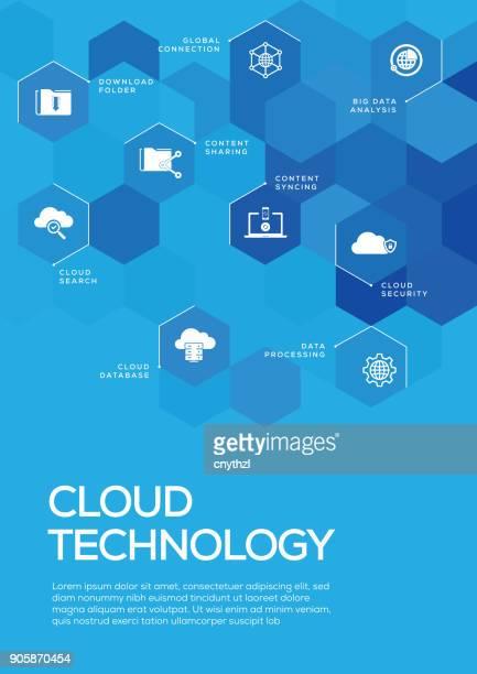 ilustrações, clipart, desenhos animados e ícones de tecnologia de nuvem. folheto modelo de layout, design da capa - capa de livro