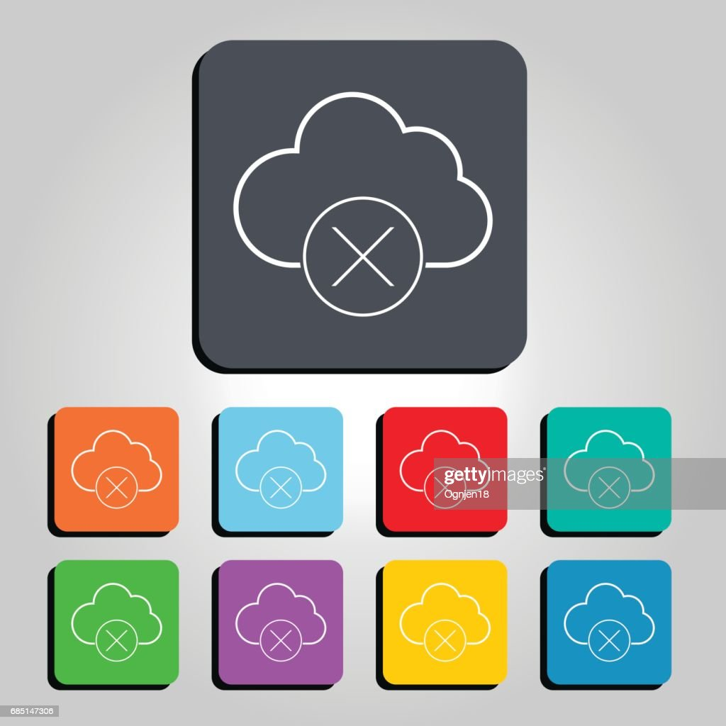 Cloud Technology Close Cross Mark Icon Vector Illustration