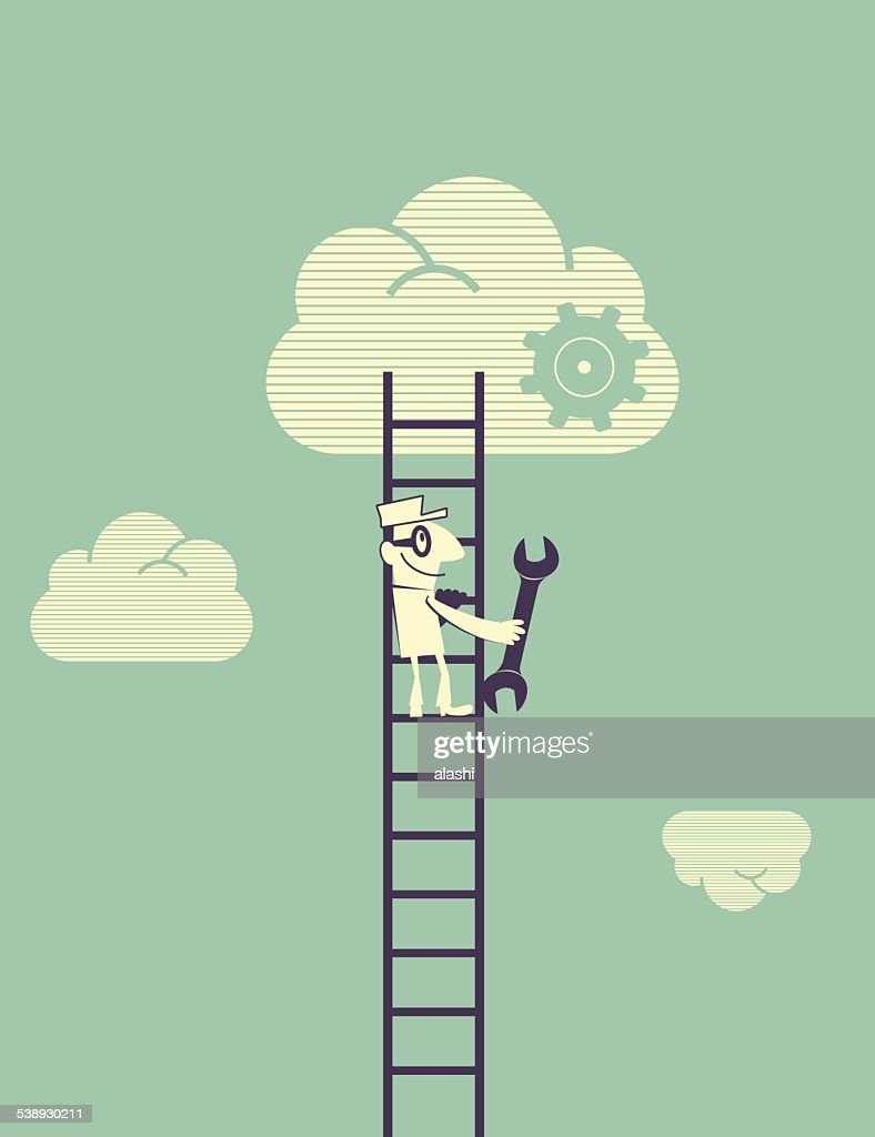 cloud technology concept technician with spanner moving up the ladder vector art