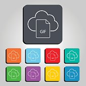 Cloud Technology GIF File Icon Vector Illustration