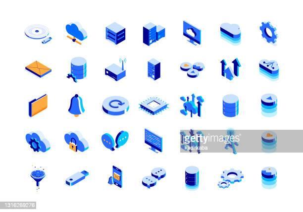 illustrazioni stock, clip art, cartoni animati e icone di tendenza di set di icone isometriche della tecnologia cloud e design tridimensionale - centro elaborazione dati