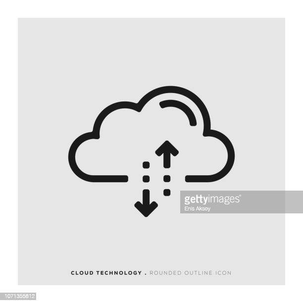 cloud-technologie abgerundete liniensymbol - cloud computing stock-grafiken, -clipart, -cartoons und -symbole