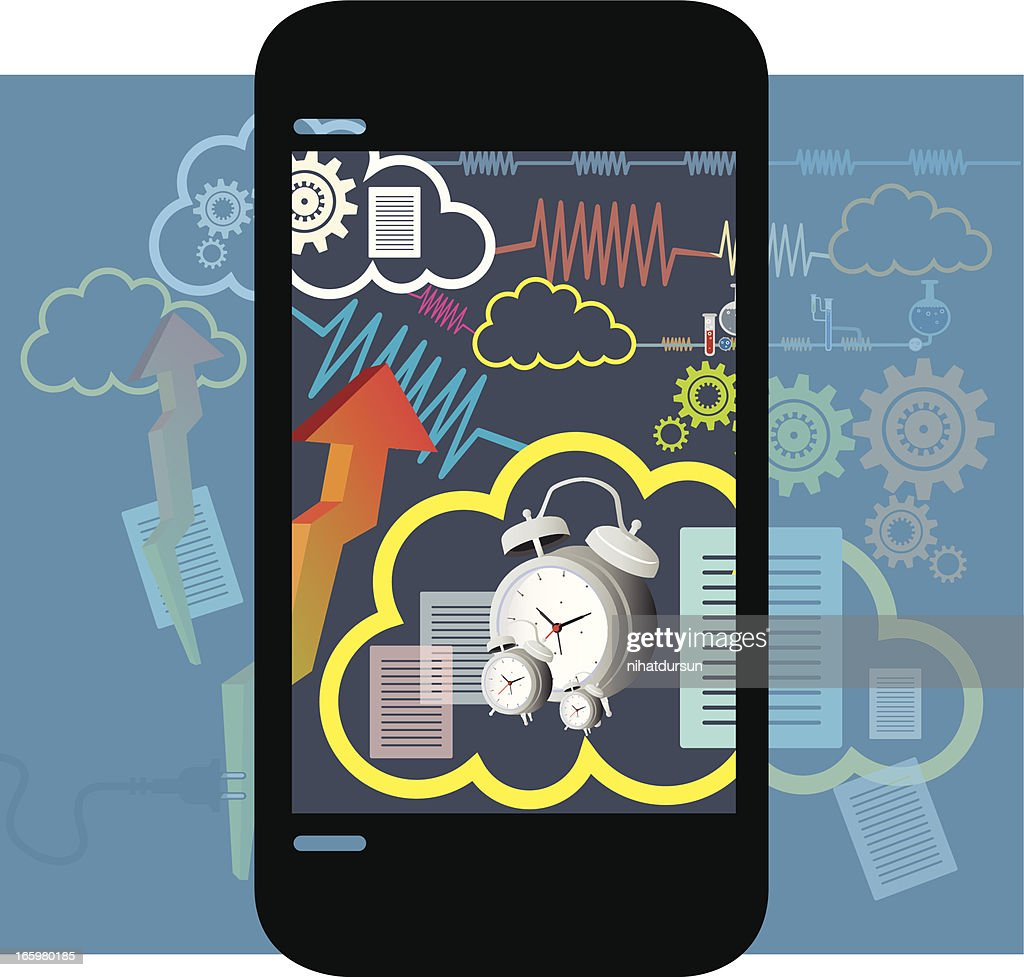 Cloud Technology with Mobility : Vector Art