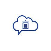 cloud trash Icon computing concept vector illustration