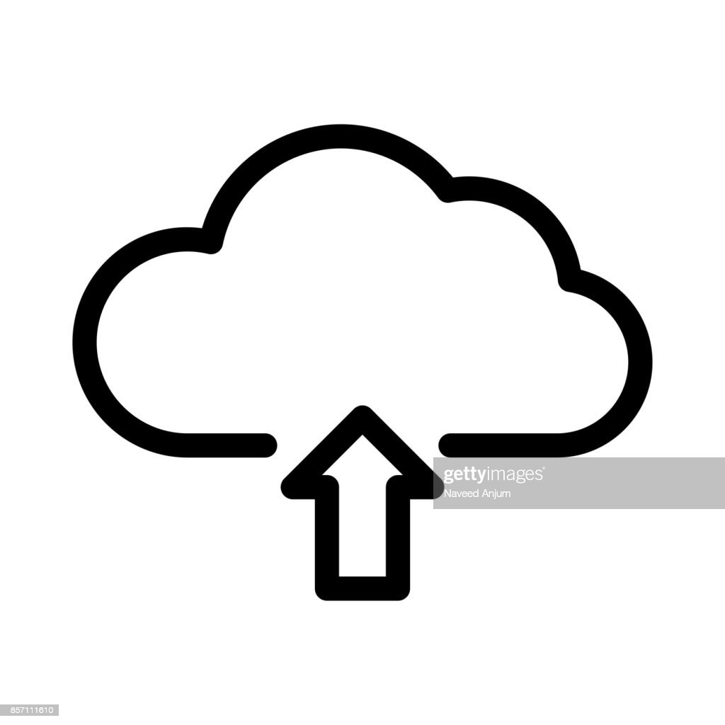 cloud upload Thin Line Vector Icon
