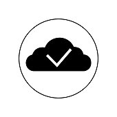 Cloud with check sign icon vector icon. Simple element illustration