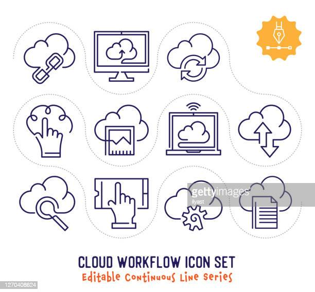 cloud workflow editable continuous line icon pack - unbroken film stock illustrations